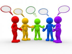 3d people - human character , person and speech bubbles . 3d render illustration